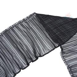 20cm Chiffon Pleated Trimming Black - 1 Meter