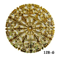 Brass Filigree Findings 128 Gold - 100gram
