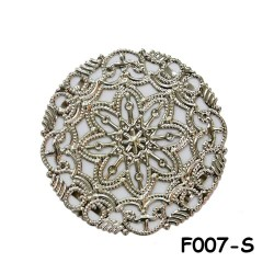 Brass Filigree Findings F007 Silver - 100gram