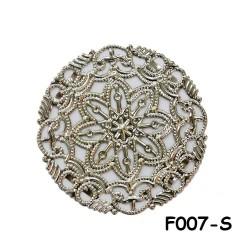 Brass Filigree Findings F007 Silver - 100gram