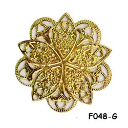 Brass Filigree Findings F048 Gold - 100gram