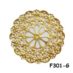 Brass Filigree Findings F301 Gold - 20gram
