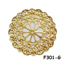 Brass Filigree Findings F301 Gold - 100gram