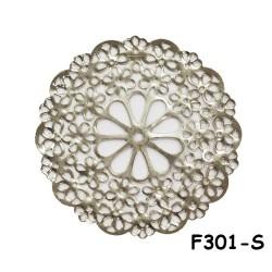 Brass Filigree Findings F301 Silver - 100gram