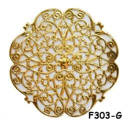 Brass Filigree Findings F303 Gold - 100gram