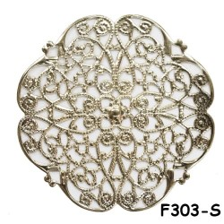 Brass Filigree Findings F303 Silver - 100gram