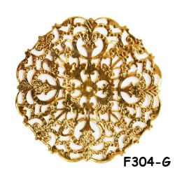 Brass Filigree Findings F304 Gold - 20gram