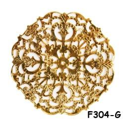 Brass Filigree Findings F304 Gold - 100gram