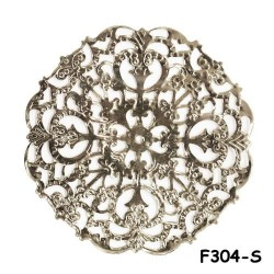 Brass Filigree Findings F304 Silver - 100gram