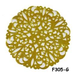 Brass Filigree Findings F305 Gold - 100gram