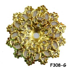 Brass Filigree Findings F308 Gold - 100gram