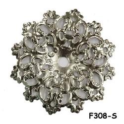 Brass Filigree Findings F308 Silver - 100gram