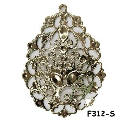 Brass Filigree Findings F312 Silver - 100gram
