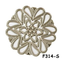 Brass Filigree Findings F314 Silver - 100gram