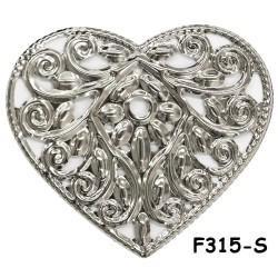 Brass Filigree Findings F315 Silver - 100gram