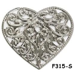 Brass Filigree Findings F315 Silver - 100gram