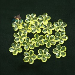 #2653 Acrylic Transparent Flower Bead 2.2cm - Yellow (20gram/pack)