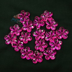 #2653 Acrylic Transparent Flower Bead 2.2cm - Shocking Pink (20gram/pack)
