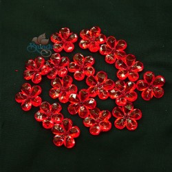 #2653 Acrylic Transparent Flower Bead 2.2cm - Red (20gram/pack)