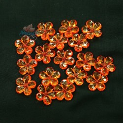 #2653 Acrylic Transparent Flower Bead 2.2cm - Orange (20gram/pack)