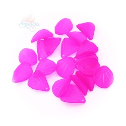 #0857 Acrylic Leaf Bead 2.5cm - Shocking Pink (20gram/pack)