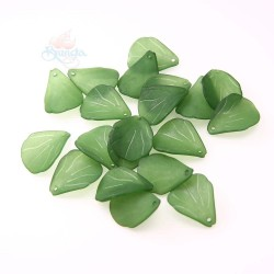 #0857 Acrylic Leaf Bead 2.5cm - Olive Green (20gram/pack)