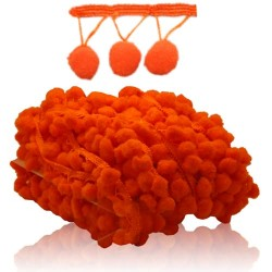 Pom Pom Ball Trimming Orange - 1 Meter