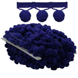 Pom Pom Ball Trimming Navy Blue - 1 Meter