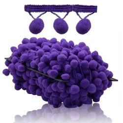Pom Pom Ball Trimming Purple - 1 Meter