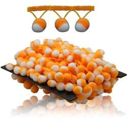 Pom Pom Ball Trimming White Light Orange - 1 Meter
