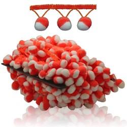 Pom Pom Ball Trimming White Orange - 1 Meter