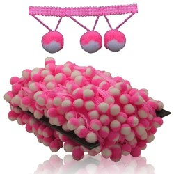 Pom Pom Ball Trimming White Pink - 1 Meter