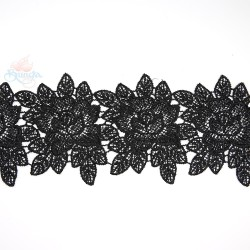 3034 Rose Flower Chemical Lace Black - 1 Meter