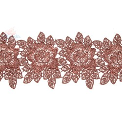 3034 Rose Flower Chemical Lace Brown - 1 Meter