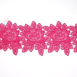 3034 Rose Flower Chemical Lace Crimson Pink - 1 Meter