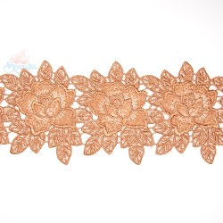 3034 Rose Flower Chemical Lace Light Brown - 1 Meter