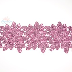 3034 Rose Flower Chemical Lace Magenta - 1 Meter