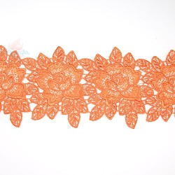 3034 Rose Flower Chemical Lace Orange - 1 Meter