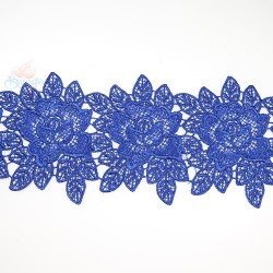 3034 Rose Flower Chemical Lace Royal Blue - 1 Meter