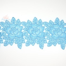 3034 Rose Flower Chemical Lace Sky Blue - 1 Meter