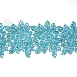 3034 Rose Flower Chemical Lace Teal Green - 1 Meter