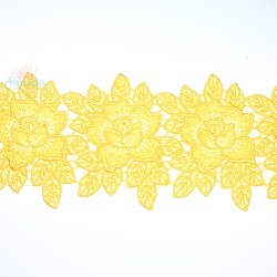 3034 Rose Flower Chemical Lace Yellow - 1 Meter