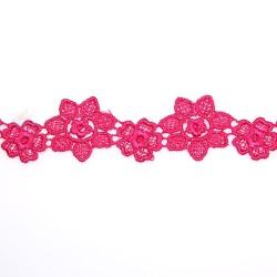 1034 Small Chemical Prada Lace Crimson Pink - 1 Meter