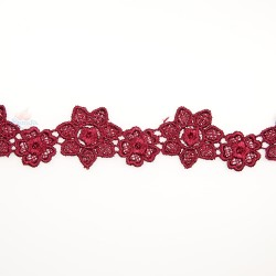 1034 Small Chemical Prada Lace Maroon - 1 Meter