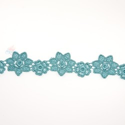 1034 Small Chemical Prada Lace Teal Green - 1 Meter