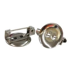 Metal Brooch Round Craft 1.5CM - 10pcs