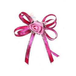 (RF27) Decoration Flower Brooch Hot Pink - 1 Pcs