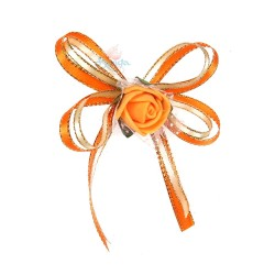 (RF27) Decoration Flower Brooch Orange - 1 Pcs
