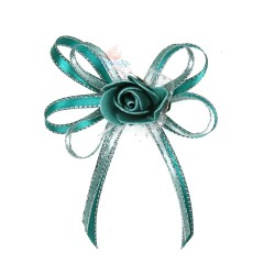 (RF27) Decoration Flower Brooch Teal - 1 Pcs