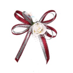 (RF27) Decoration Flower Brooch White Maroon - 1 Pcs